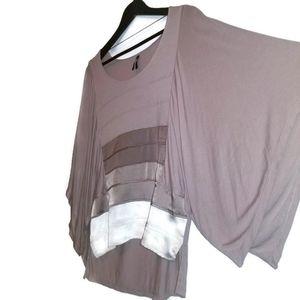 Gentle fawn tan color block kimono sleeve top